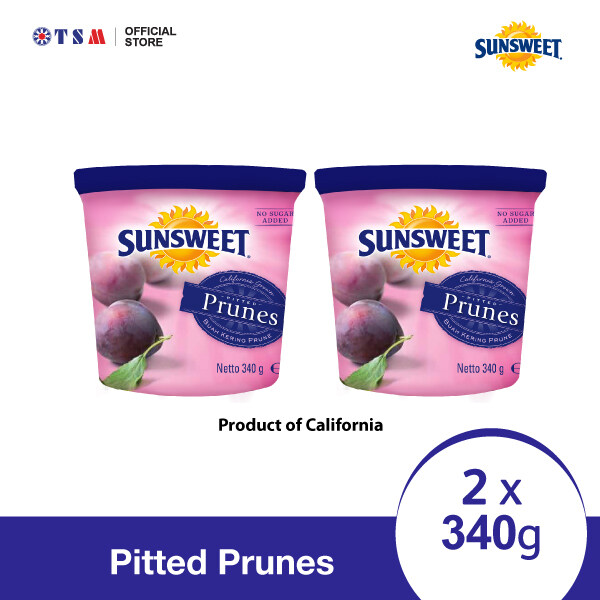 SUNSWEET PITTED PRUNES 340G X 2 CANS