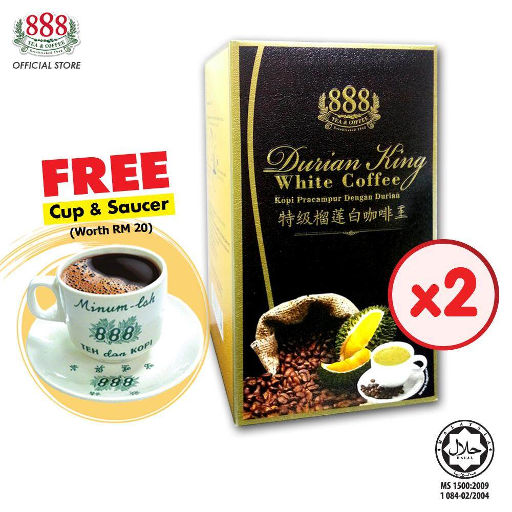 888 3 In 1 Instant Durian King White Coffee (30g x 10 Sticks x 2 Boxes) [Free Cup and Saucer]