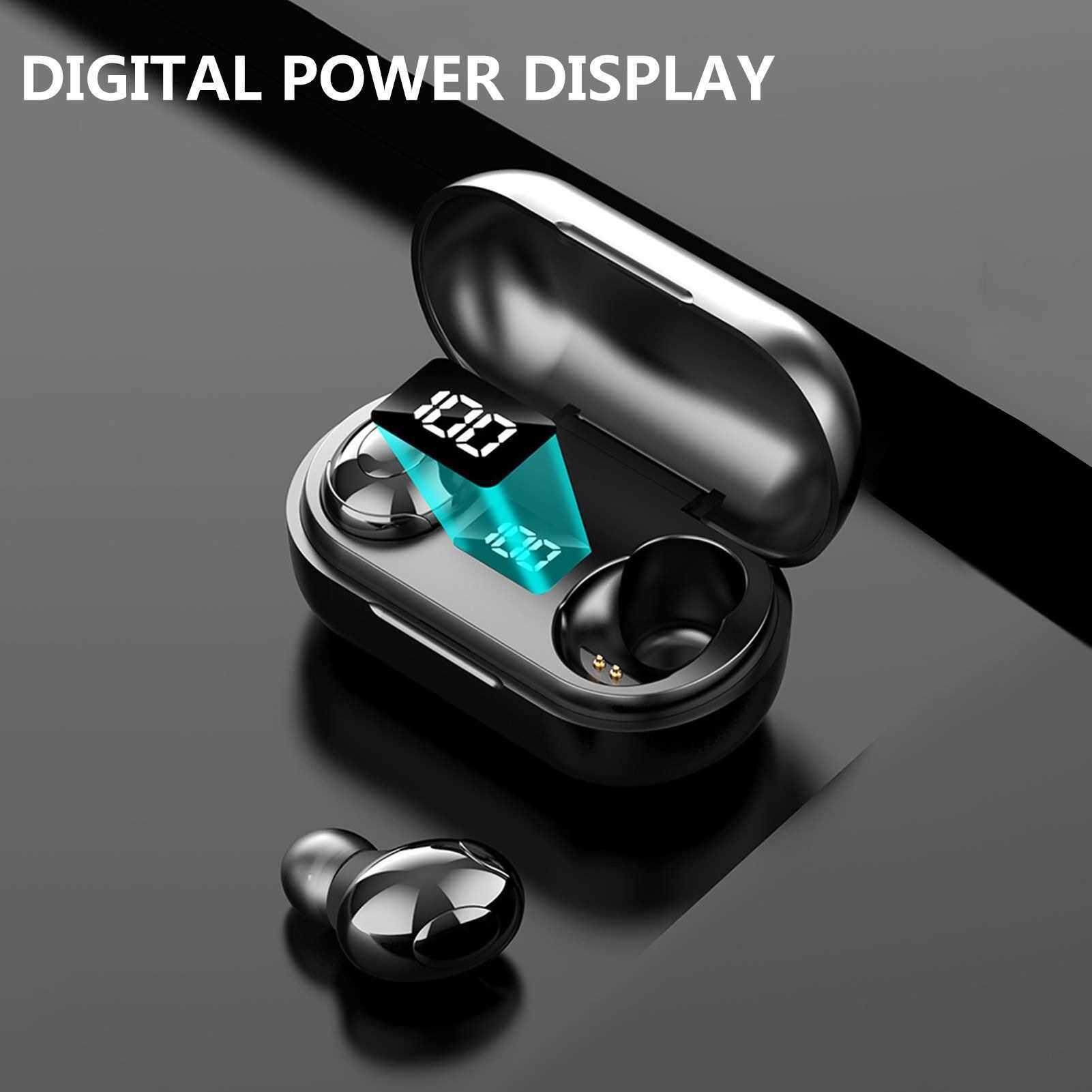 BT Earphones Intelligent Charge Warehouse Digital Display Mini No Wire BT Sports Earphones (Black)