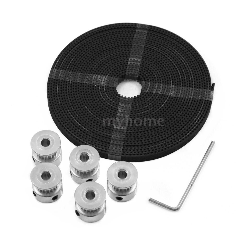 Printers & Projectors - 3D Printer Tool Kit 20 Teeth Timing Aluminum Pulley Wheels 5mm Core Diameter 5 Meters Timing - PULLEY&BELT&WRENCH
