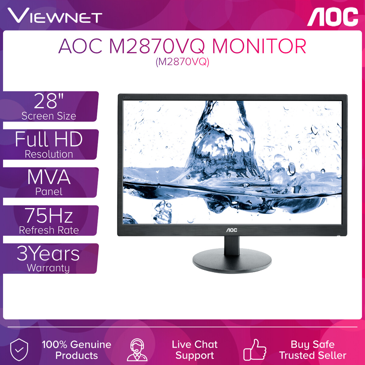 AOC M2870VQ 28 VA FHD LED MONITOR (4MS/VGA/DVI/HDMI/DP/SPEAKER/VESA)