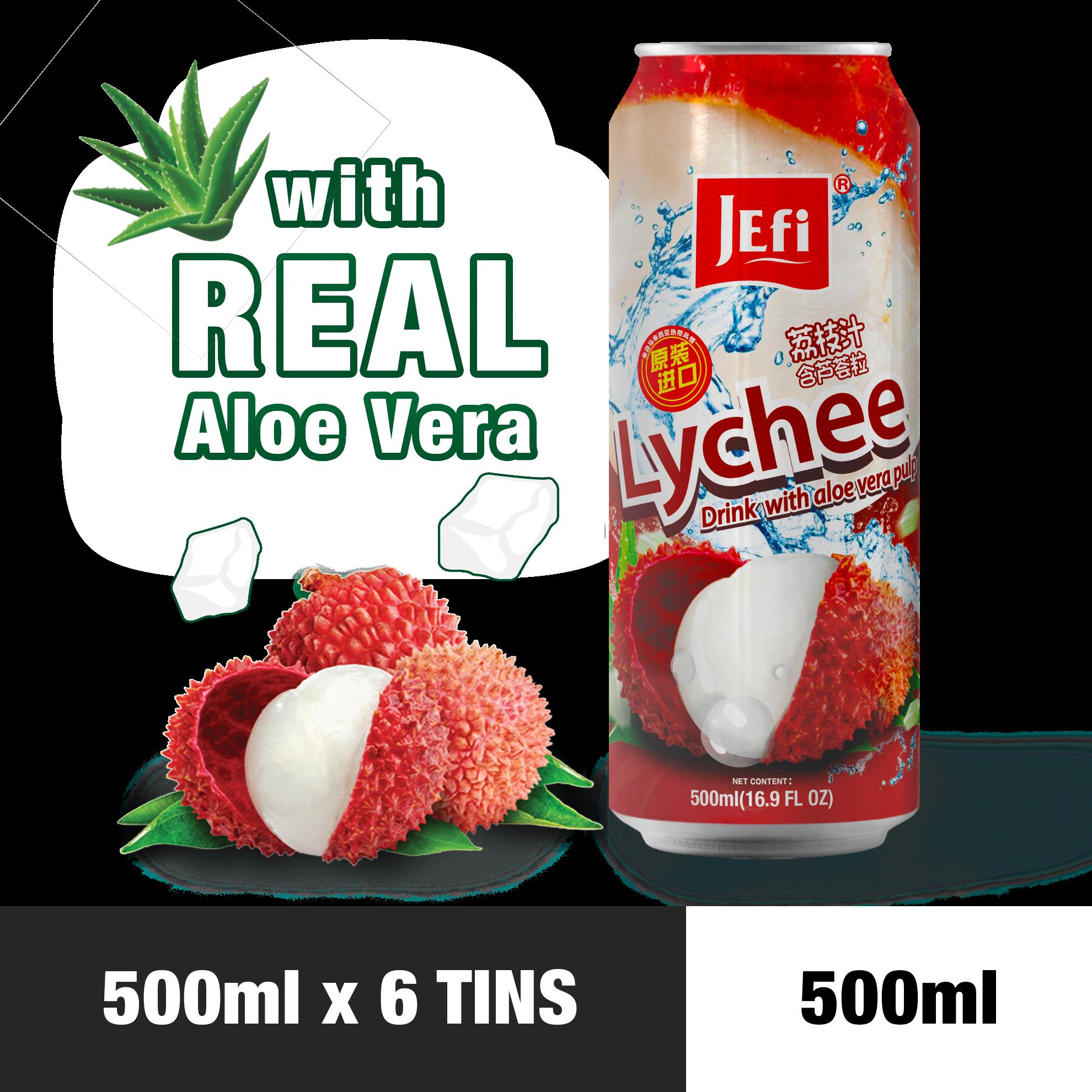 JEFI Lychee Drink with Aloe Vera Pulp (500ml x 6tins)