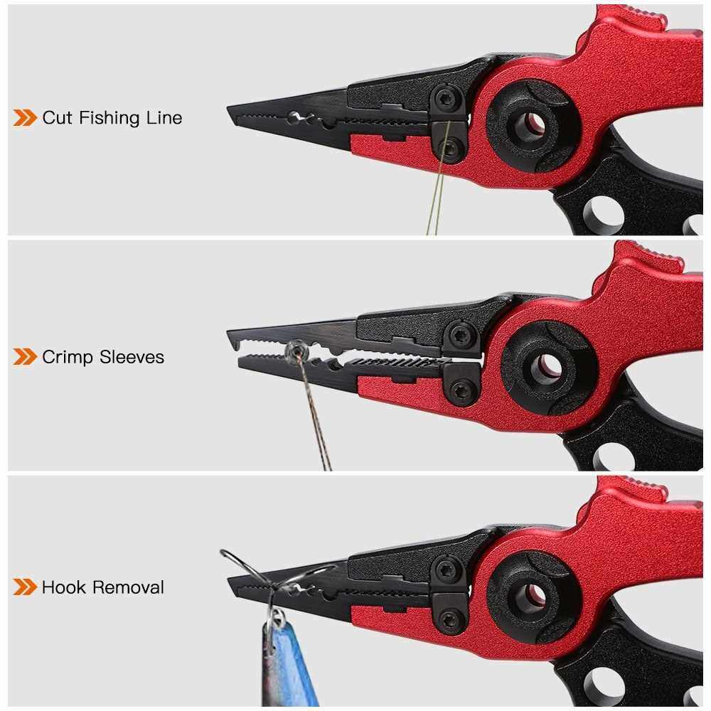 People's Choice Multifunctional Fishing Plier Portable Aluminum Alloy Fishing Clamp Fish Grabber Controller Fishing Line Cutter Hook Remover (Red Black)