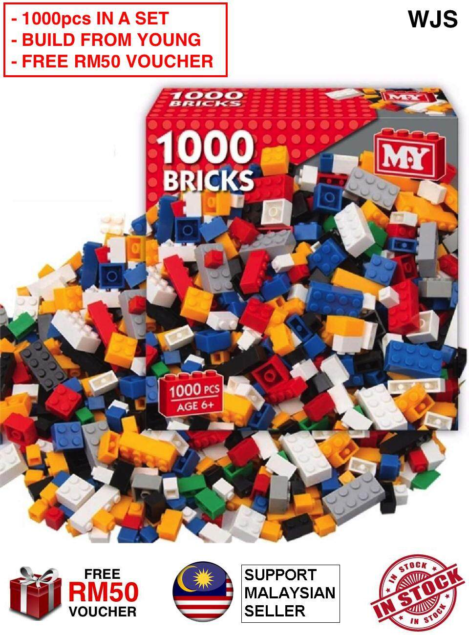 (BUILD FROM YOUNG) WJS 1000 Piece 1000pcs 1000 pcs Building Block Set Bricks Building Blocks Toy Early Education Early Learning Lego Set Young Engineer Engineering Construction MULTICOLOR [FREE RM 50 VOUCHER] Toys for boys