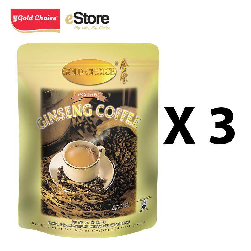 GOLD CHOICE Instant Ginseng Deluxe Coffee - (20g X 20'S) X 3 Packs In Bundle