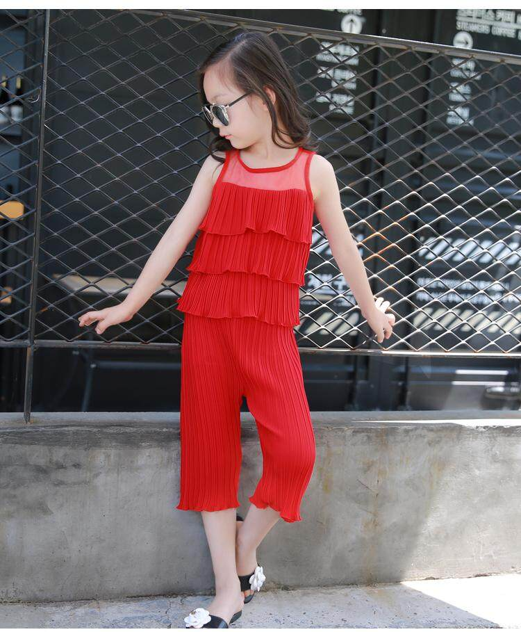 (Pre Order14 Days  JYS Fashion Korean Style KidsGirl2Piece Set(Top+Pant)Collection-5184758col518-4758--Red-130