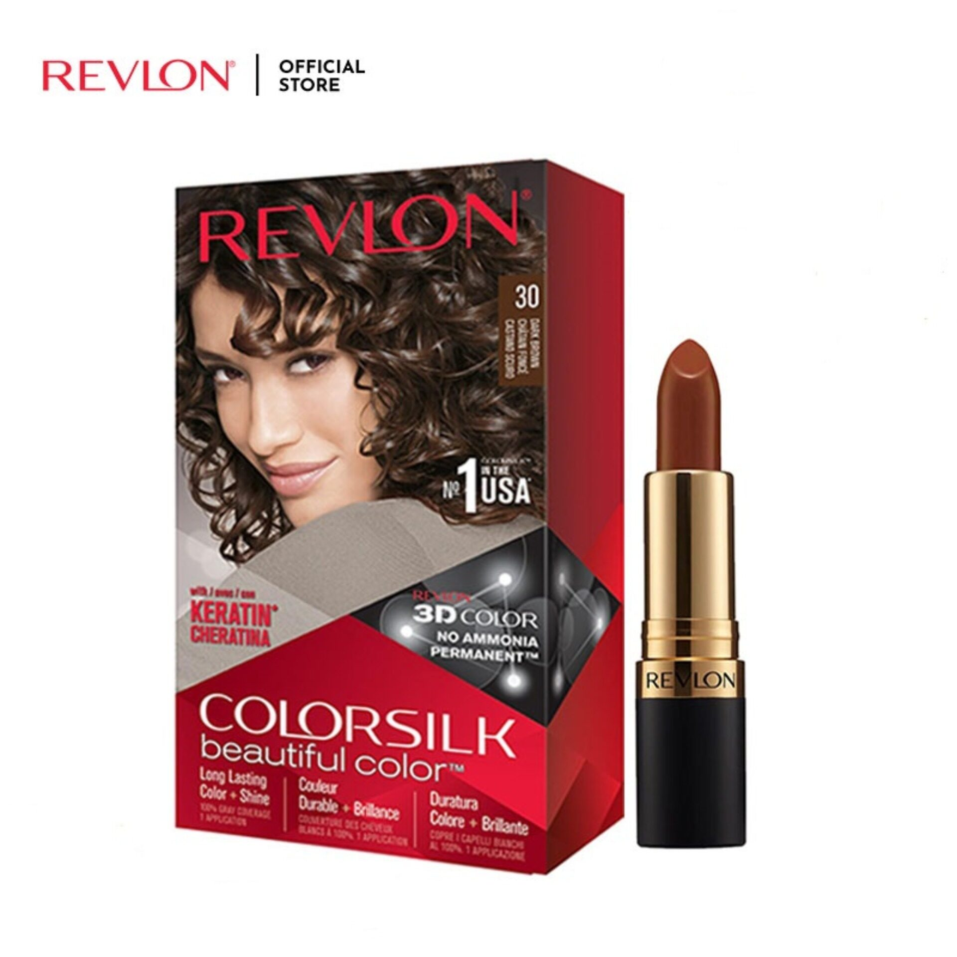 Revlon ColorSilk Dark Brown Hair Color FREE Super Lustrous Superstar Brown Lipstick