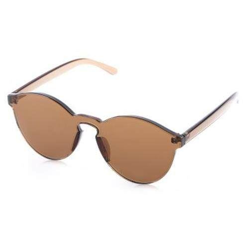 FASHION CLASSIC TRANSPARENT FRAME CIRCLE CANDY COLOR SUNGLASSES ANTI UV400 (COFFEE)