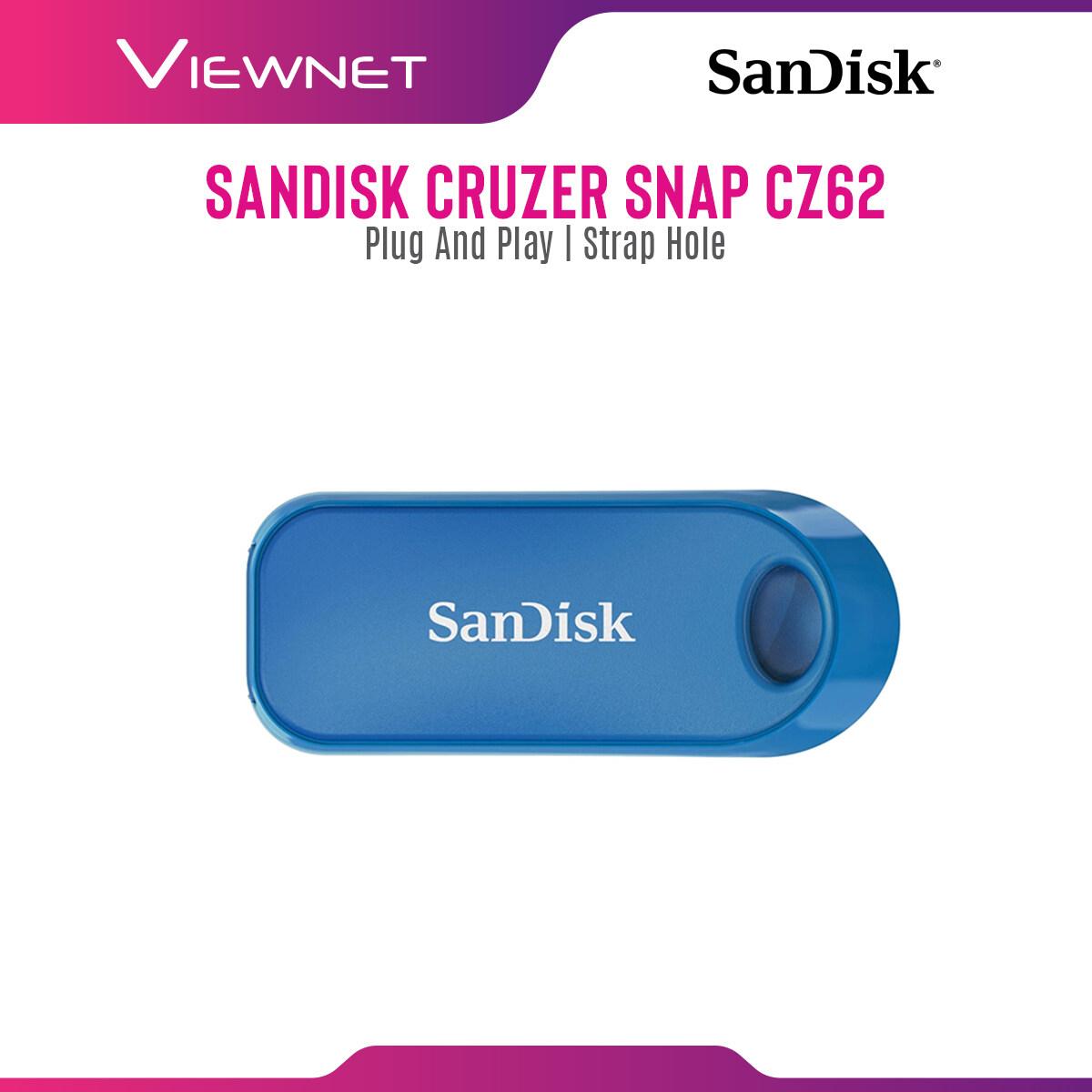 Sandisk Cruzer Snap (16GB / 32GB / 64GB / 128GB) USB2.0 Pendrive Flash Drive (Black,Blue,Red)
