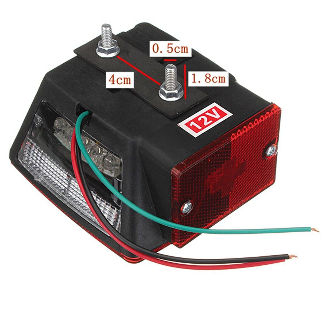 Car Lights - 2X Truck Trailer Submersible Square LED Brake Tail Light - Replacement Parts