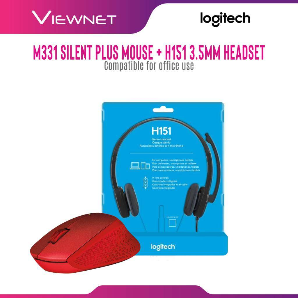 (11.11 PreSale Exclusive Bundle) Logitech Wireless Usb Mouse M331 Silent Plus + Headset Wired 3.5mm H151