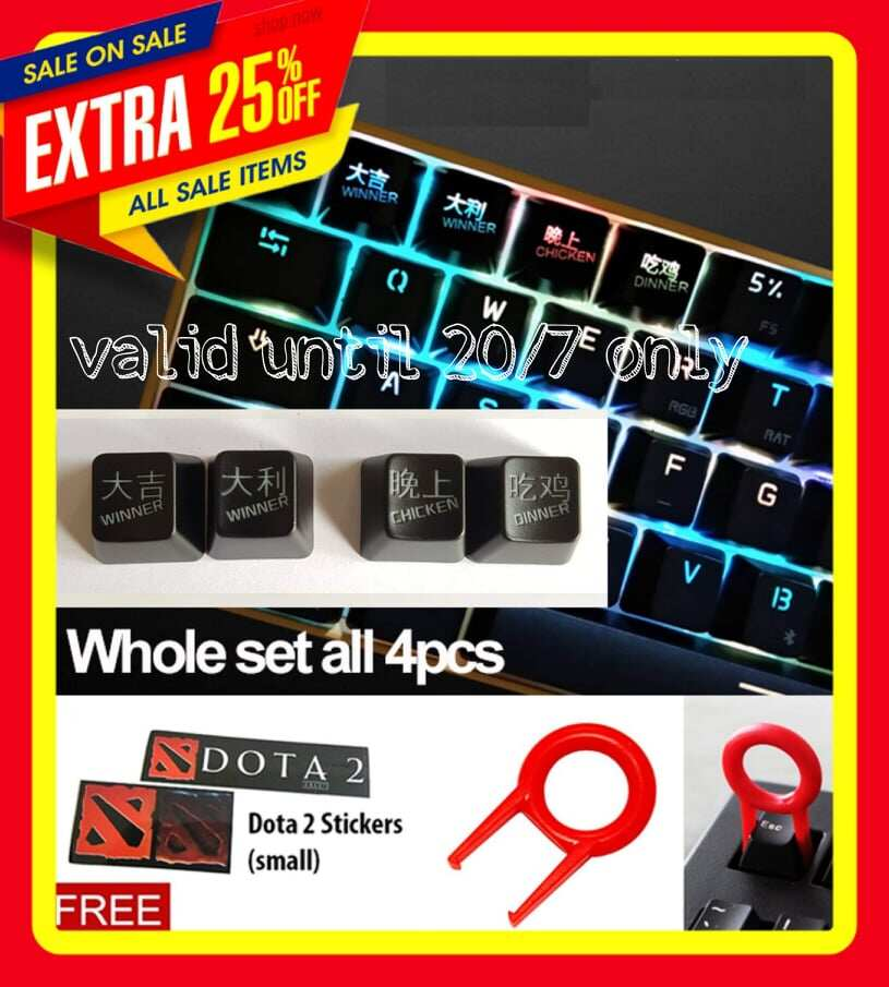 Season 2&3 ABS R4/ESC Keycaps key caps - Winner Winner Chicken Dinner set (4 pcs) + Mechanical Keyboard Keycap Puller Key Cap Extractor & Dota 2 Sticker