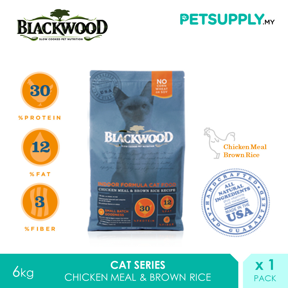 Blackwood Indoor Formula Dry Cat Food Chicken Meal & Brown Rice Recipe 6kg [makanan kucing - Petsupply.my]