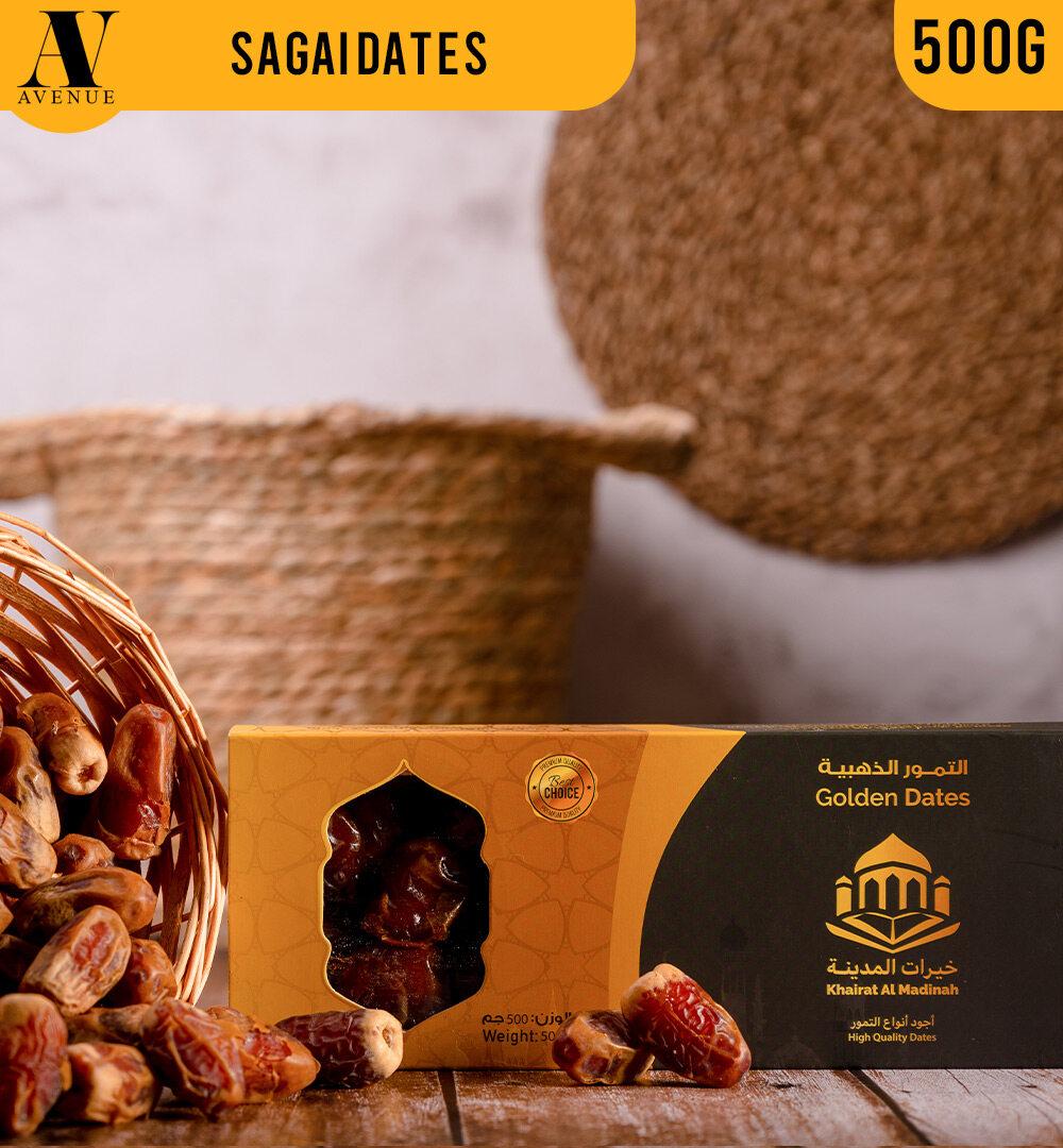 Golden Dates Sagai Dates 500g - Kurma Saqai - Sagaii التمور الذهبية تمر صقعي