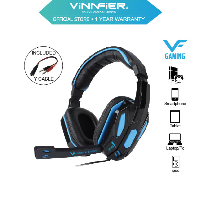 Vinnfier TOROS 1 Gaming Headphones Extra Bass and Stereo Sound Headsets With Mic For Smartphones  Tablets and Computer