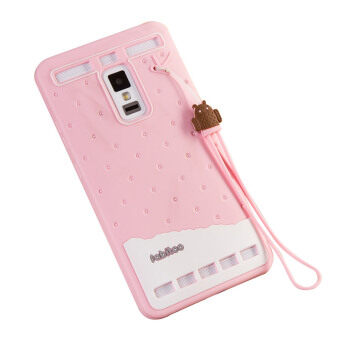 Fabitoo Cute ice cream silicone back cover case For VIVO XPlay 3S With lanyard -Pink