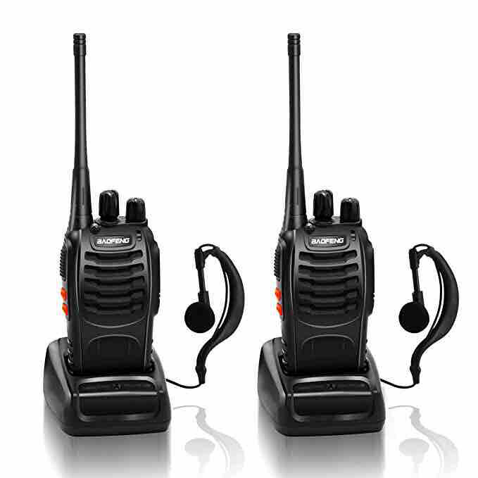 BaoFeng 888S Walkie Talkie 16CH UHF 400-470Mhz Two Way Radio with Earpiece Portable Radio Station Set Handhold Waterproof Transceiver (2 Pack)