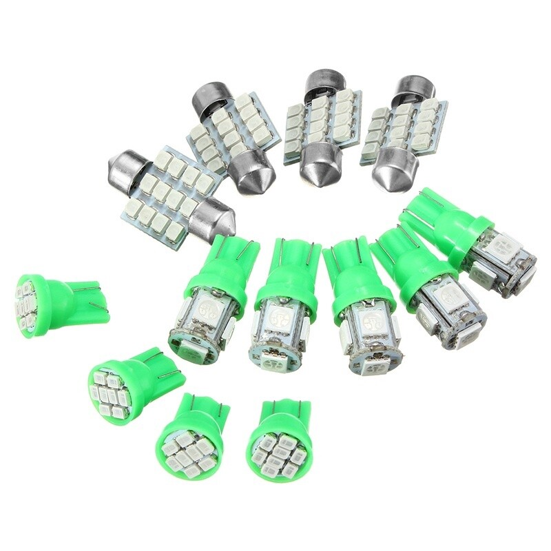 Car Lights - 13x Car Auto Light Bright Green T10 W5W 31mm Festoon Dome Car Light LED Interior - Replacement Parts