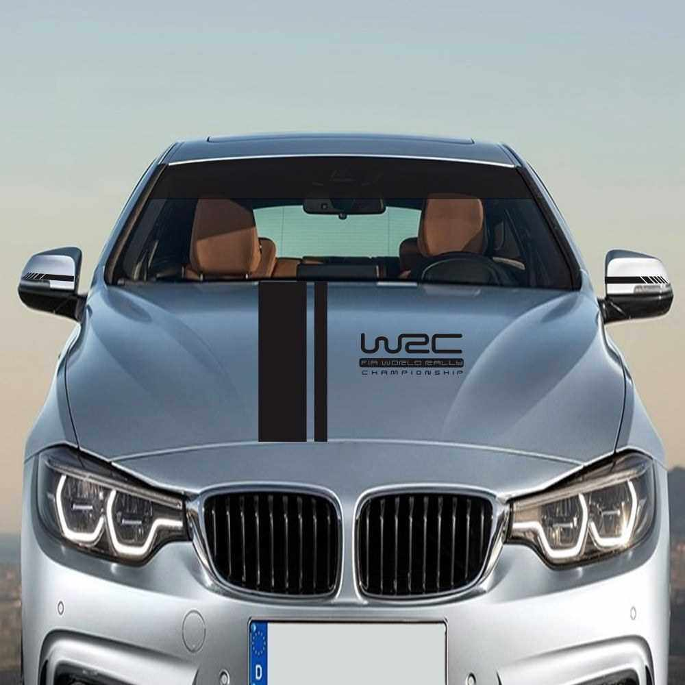 Best Selling 5Pcs Car Side Door Body Hood Rearview Mirror Decal Stripes Sticker Racing Decals (Black)