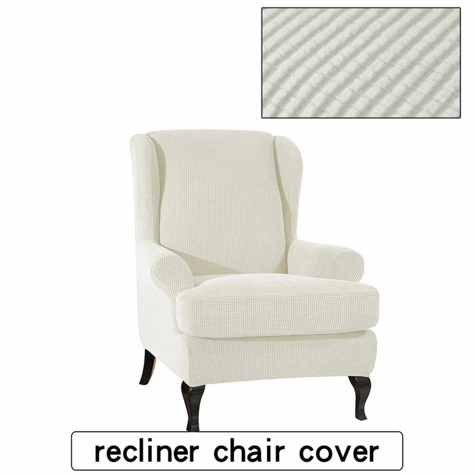 Sofa Covers Wing Chair Elastic Fabric Stretch Couch Slipcover Polyester Spandex Furniture Protector (White) (Black)