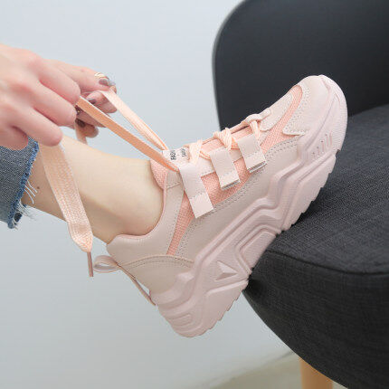 (PRE-ORDER) WOMEN PINK THICK BOTTOM CASUAL LACE UP SHOES LLF (ETA: 2021-08-19)