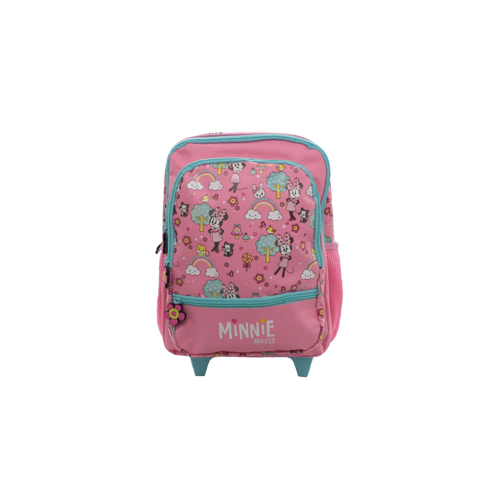 Disney Minnie Mouse Rainbow & Candies For Kids Girls Pre-School Trolley Bag With 2 Wheels & Handle (Pink)