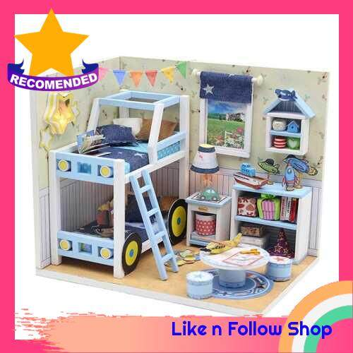 Miniature Doll House DIY Wooden Dollhouse with Furniture Children Toy Creative Gifts for Kids Aged 14+ Adults Friends Family (Blue, Car & Space) (Multicolor)