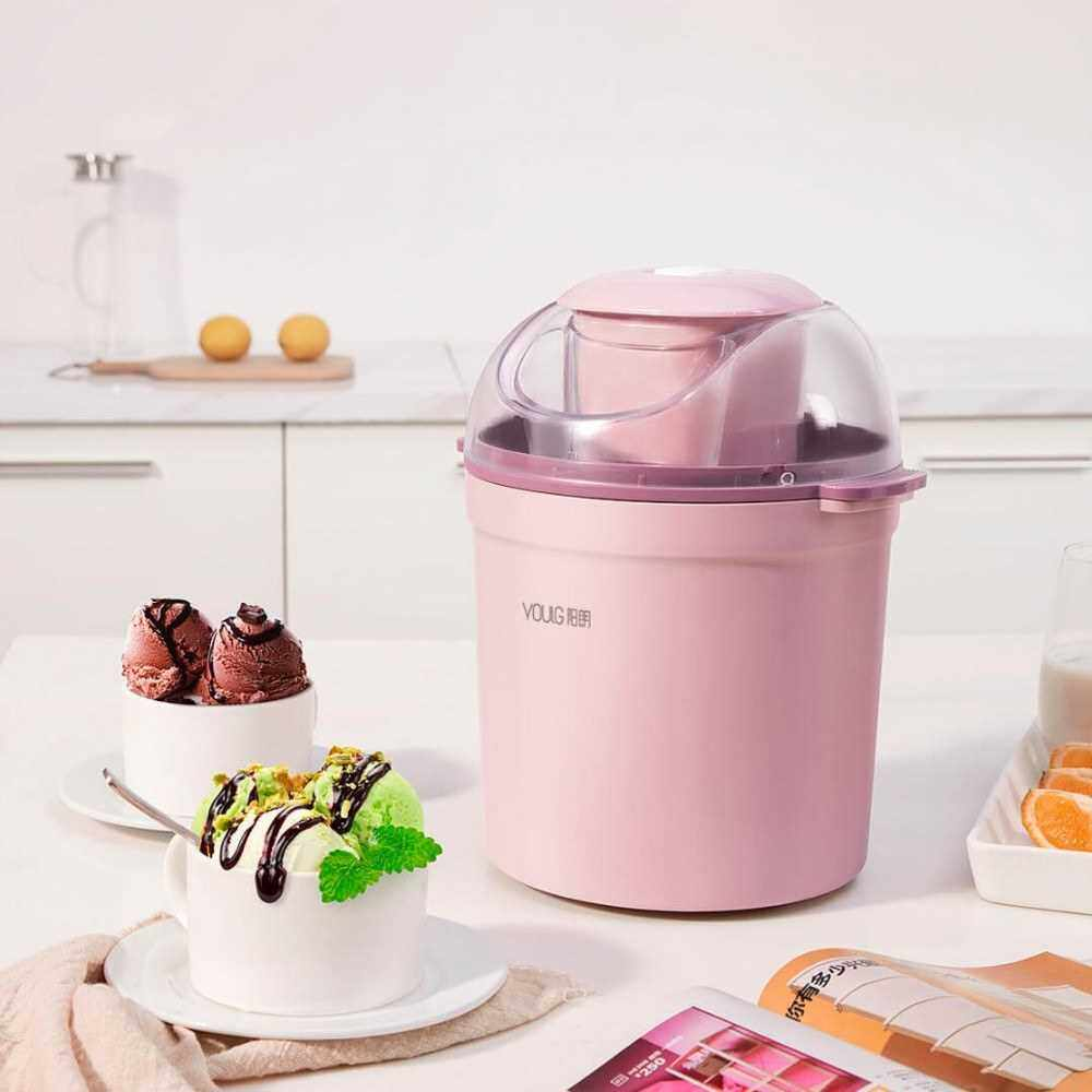 People's Choice Xiaomi Youpin YOULG Ice Cream Maker 0.8L/12W Home Automatic 800ML Ice Cream Machine Electric Frozen Yogurt Machine With Built-in Cooling System 220V (Standard)