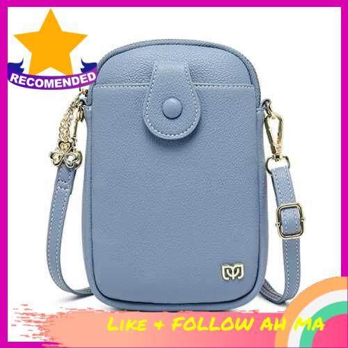 Best Selling Women Mini Crossbody Bag with Pocket Solid Pattern Zip Handbags Multipurpose Mini Shoulder Bag Purse Pouch Bag (Blue)