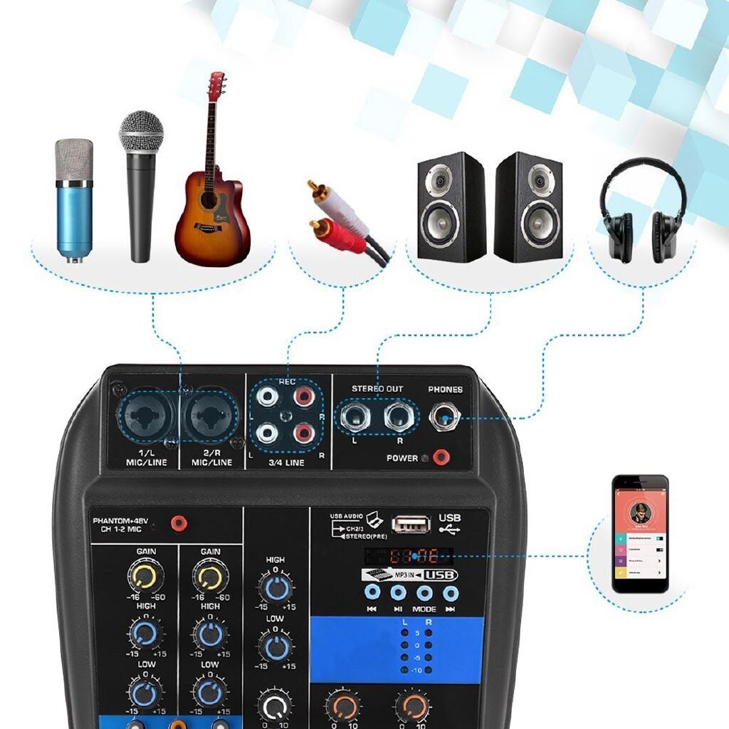 DIY Tools - 110-220V 4Channel MINI Audio Mixer Console BLUETOOTH Amplifier 48V - Home Improvement