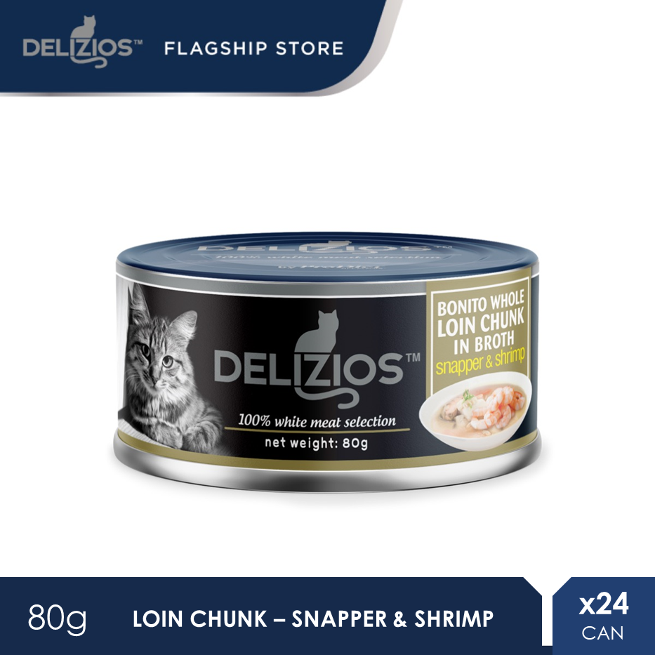 Delizios 80G Bonito Loin Chunk Topping Snapper & Shrimp Premium Wet Cat Food X 24 Cans