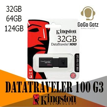 {Ship Out Within 24 Hours} Kingston DataTraveler 100 G3 USB Flash Drive - 64GB, 128GB