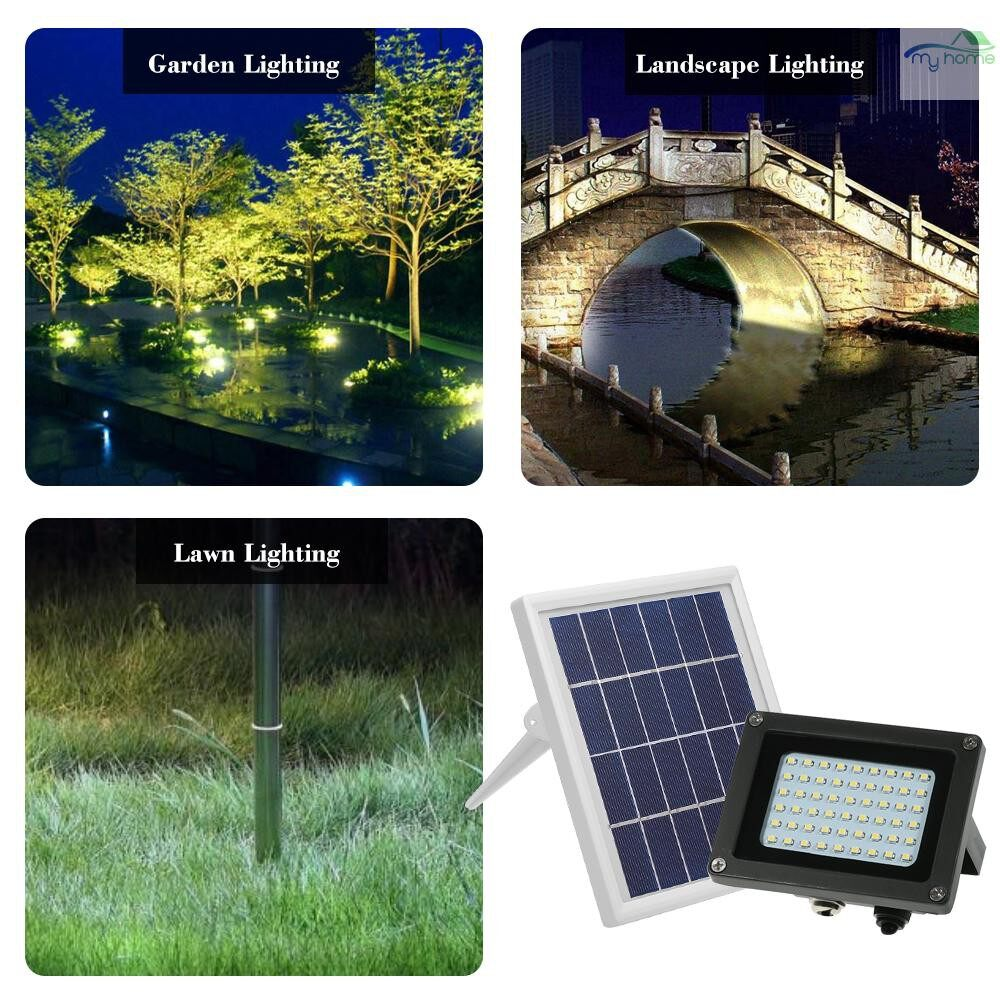 Lighting Fixtures & Components - Solar Powered Floodlight 54 LED Solar Lights IP65 Waterproof Outdoor Security Lights with Bracket - BLACK