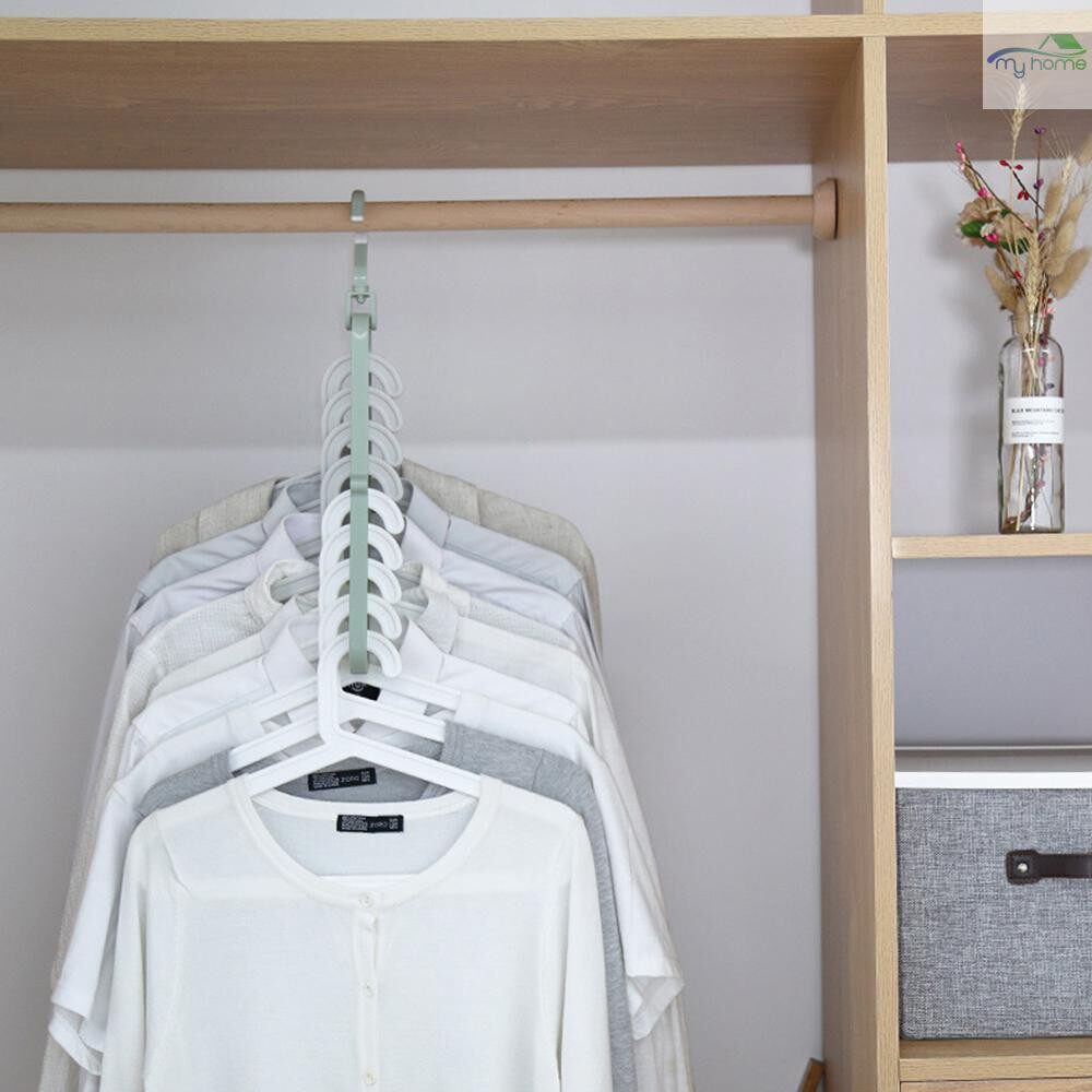 Storage Bins & Baskets - Nine Holes Rotating Hanger Magic Multi-function Folding Clothes Hanger Drying Hanger Clo SET - PINK / BLUE / GREEN / BEIGE
