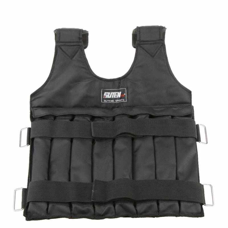 Best Selling [LAST STOCK]Max Loading 20kg Adjustable Weighted Vest Weight Jacket Exercise Boxing Training Waistcoat Invisible Weightloading Sand Clothing (black)