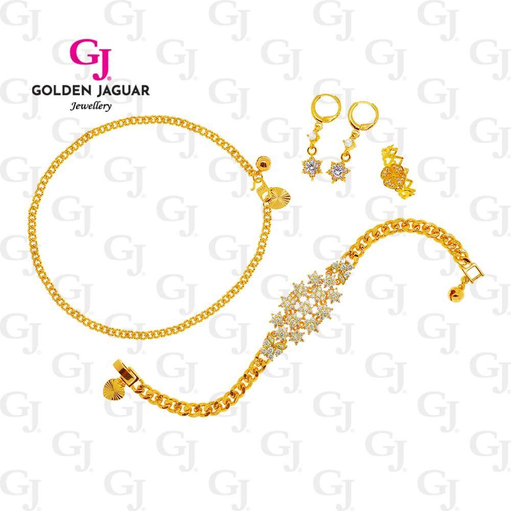 GJ Jewellery Emas Korea 24k Bracelet Combo Papan Diamond - Bracelet Anklet Earring Ring Earring Premium Set