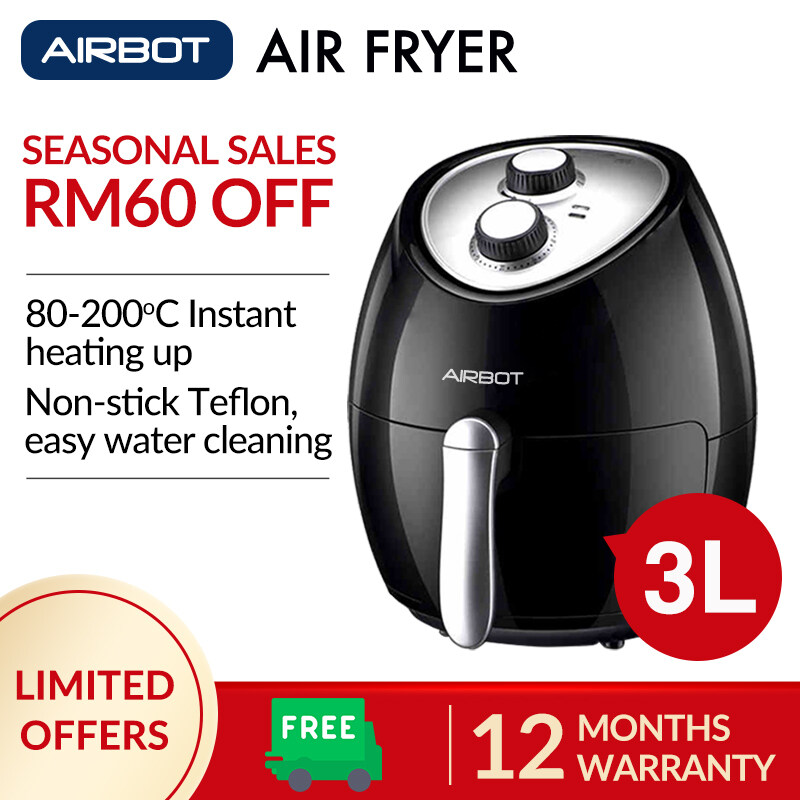 Airbot Air Fryer AF100 3L Deep Fryer Cooker Single Pod Non-Stick 30mins Timer Compatible with Rice Cooker Microwave Oven Roast Grill Baker Air Frier