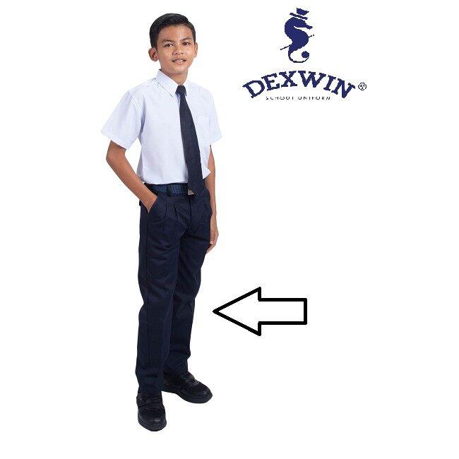 sekolah rendah seluar biru panjang bergetah kain cotton