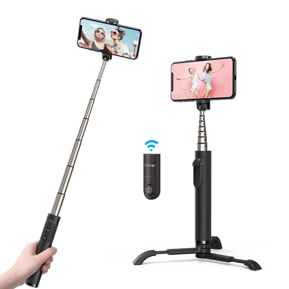Phone Holder & Stand - BlitzWolf BW-BS9 Integrated BLUETOOTH Tripod Selfie Stick for Sport Camera Phone - BLACK