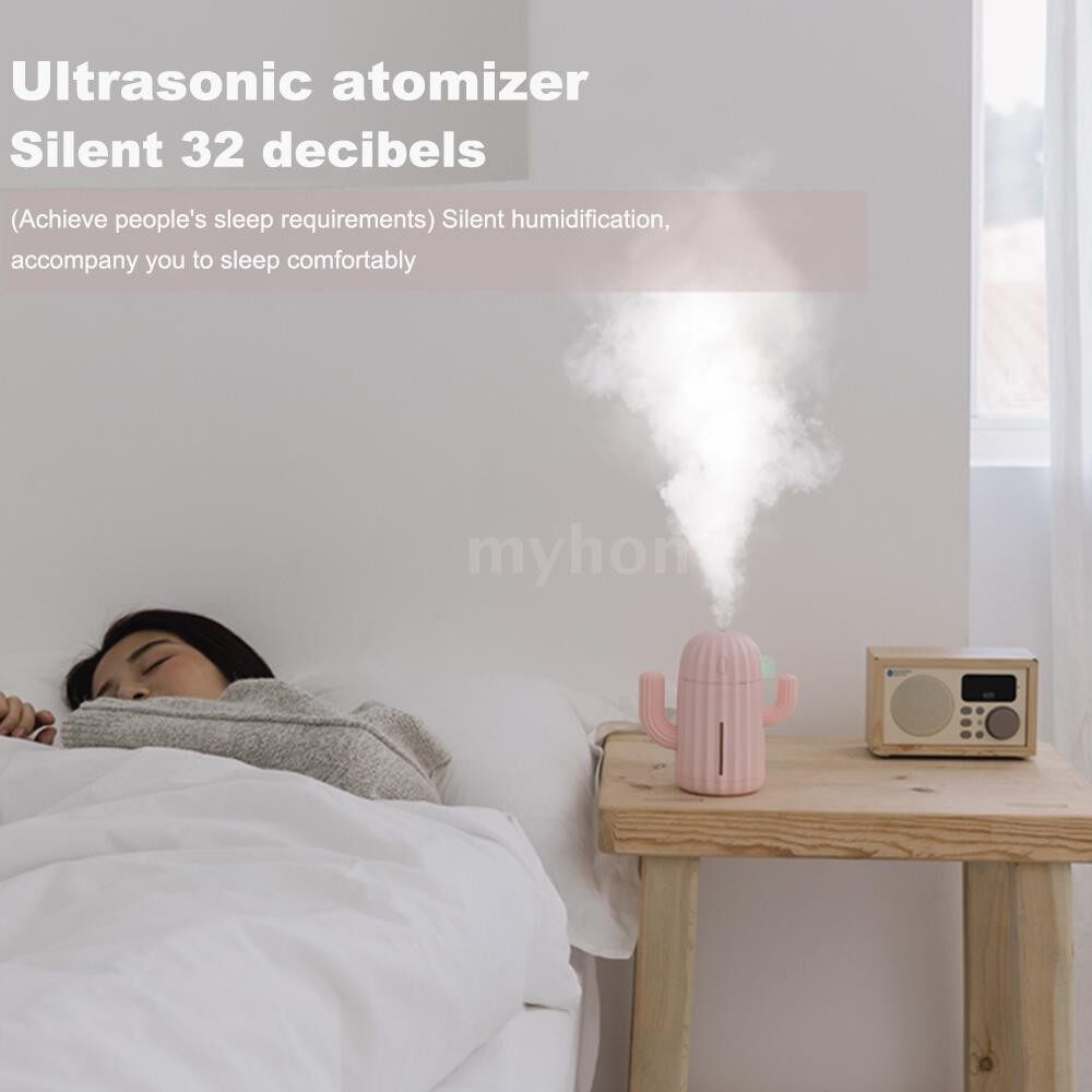 Humidifiers & Air Purifiers - 340ML USB Air Humidifier Cactus Timing Aromatherapy Diffuser Mist Maker Fogger MINI AroAtomizer - PINK / BLUE / GREEN