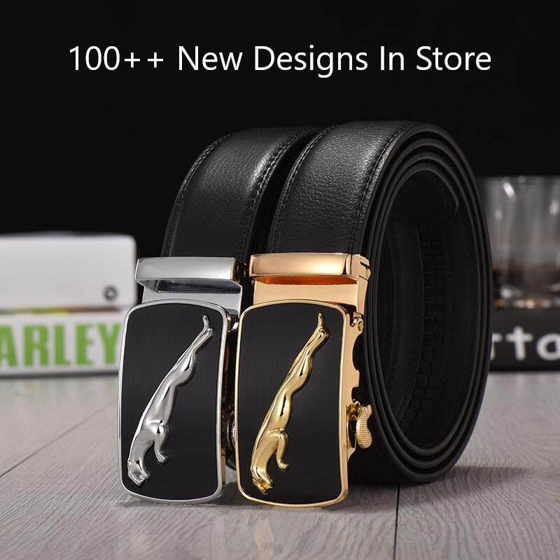[M'sia Warehouse Direct] 100% Cowhide / PU Leather 2020 Korean Series Men's Automatic Buckle Jaguar Series Belt Perfect Gift (come with box) Luxury Laser Zinc Alloy Belt Suitable For Formal Wear Jeans Casual Wear Belt Long Lasting Tali Pinggan Kulit Halal