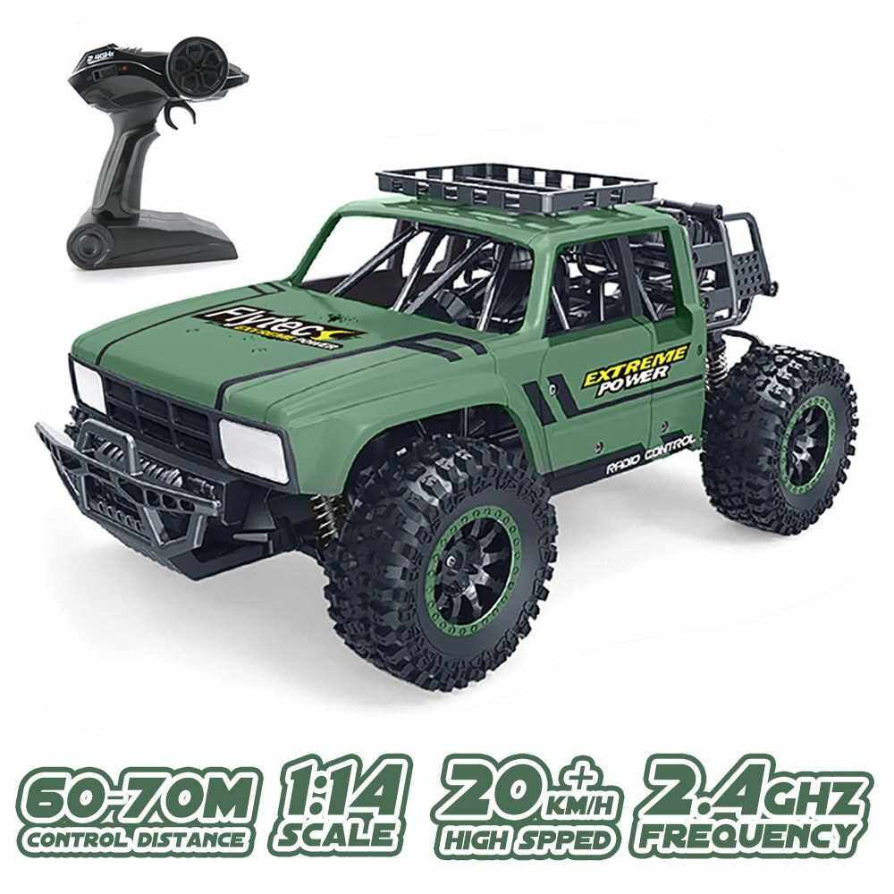 Flytec SL-151A 1/14 2.4GHz RC Car High Speed Off-Road Racing Climbing Car Dessert Buggy RC Toys for kids (Green)