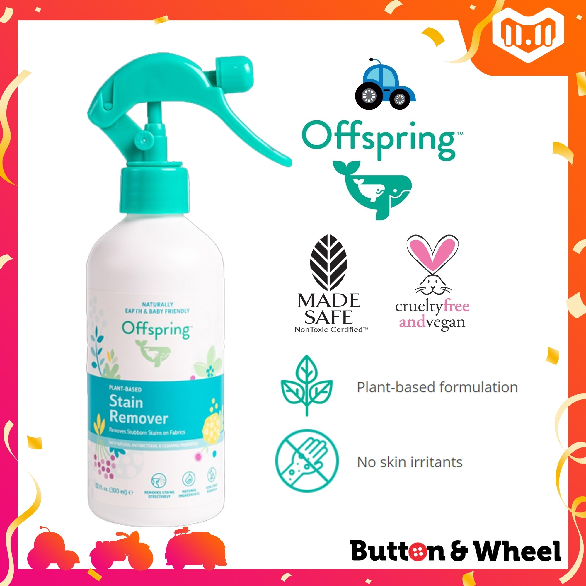 Offspring Plant-Based Baby Stain Remover 300ml (Expiry Date: 01/2023):HH-OI-STA-300ML