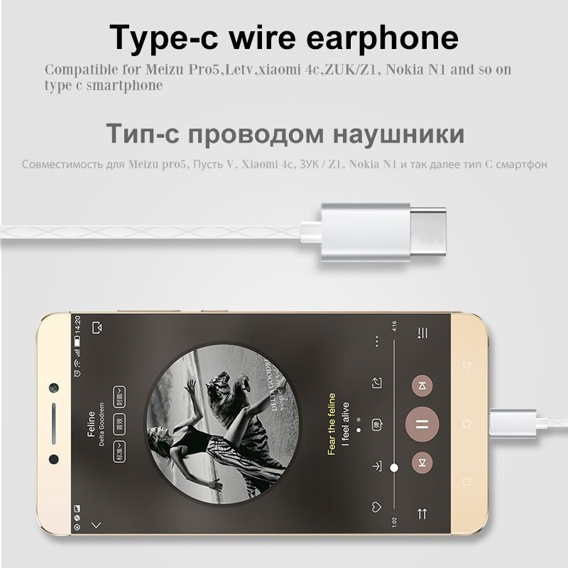 WLNGWEAR Leeco Type-c Earphone with Mic for Letv LeEco Le 2 Pro Max 2 - SILVER / GOLD / ROSE RED / BLACK
