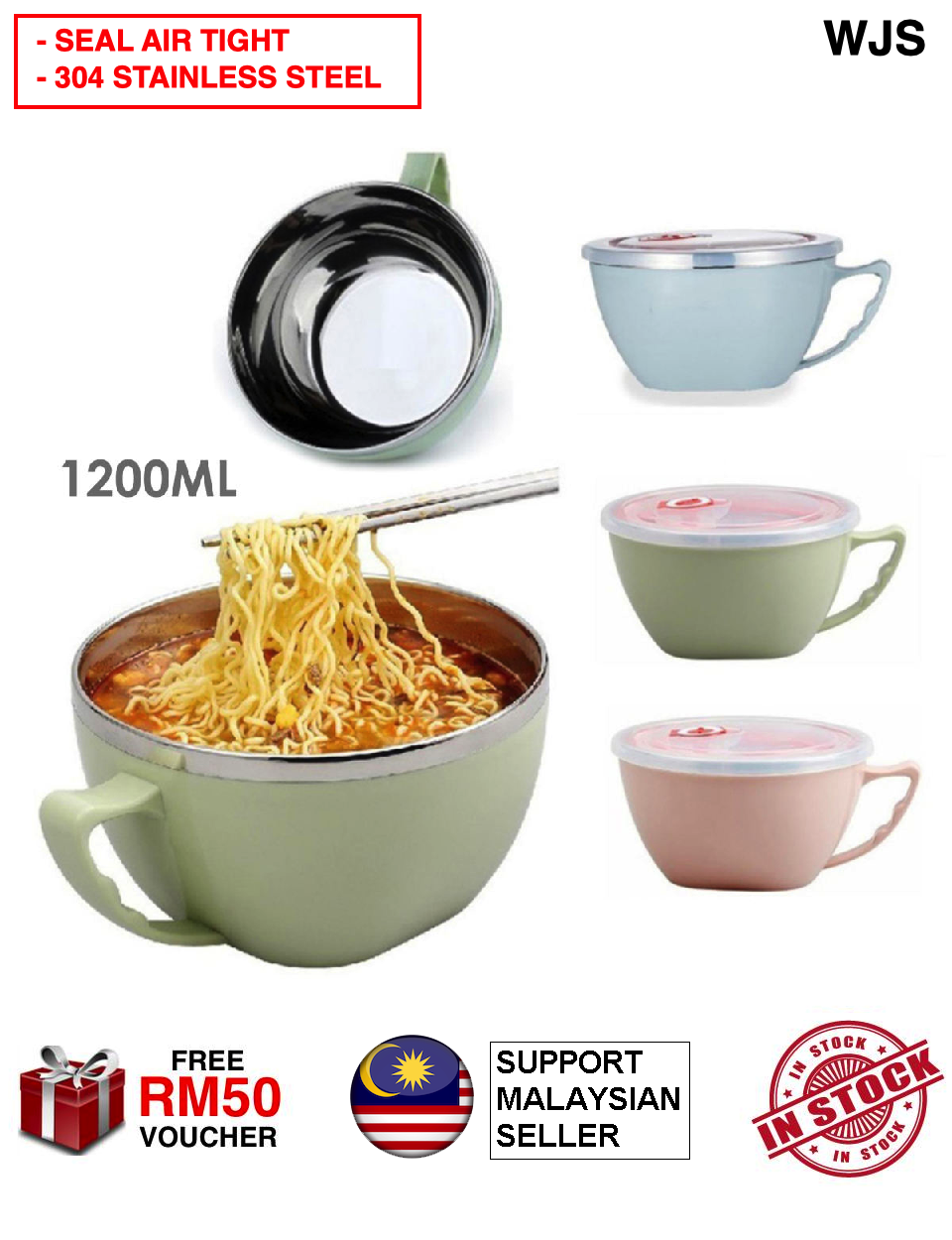 (PERFECT MAGGI PARTNER) WJS Large Scrumptious Maggi Mug Korean Style Multipurpose Instant Noodle 1200ML Stainless Steel Bowl With Seal Noodle Bowl Mangkuk Mee Segera PINK BLUE GREEN [FREE RM 50 VOUCHER]