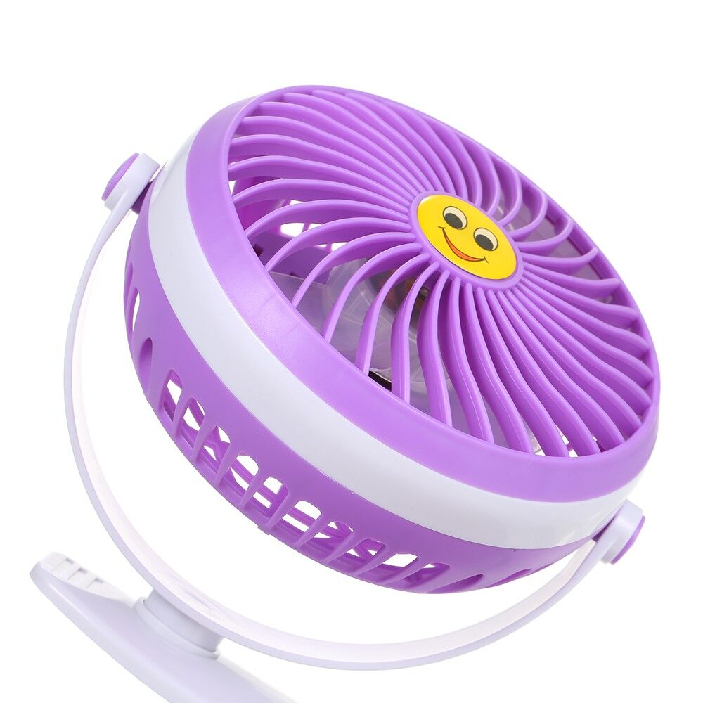 USB Fan - MINI USB Clip and Desk Personal Fan 2 Speed Mode Flexible 360 Ventilator Bed Of - PURPLE / GREEN / BLUE / PINK / BLACK