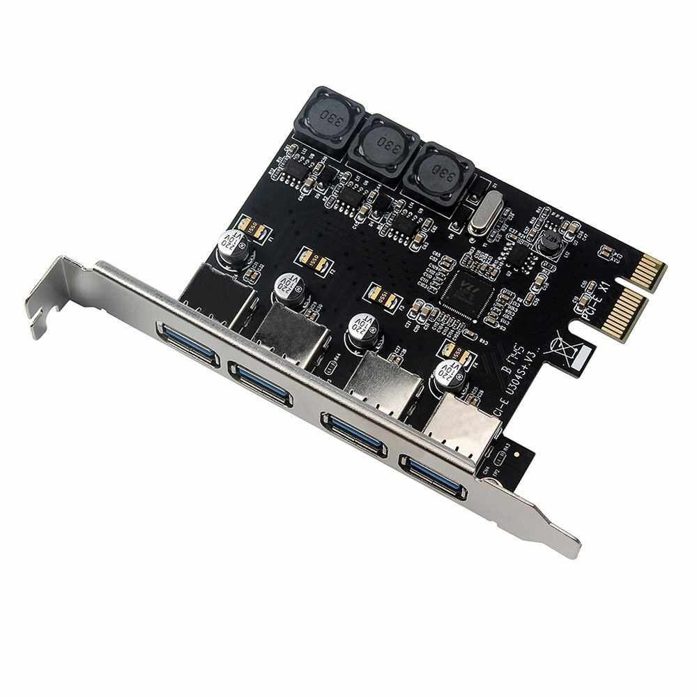 Best Selling Four Ports USB 3.0 Super Fast 5Gbps PCI-E Expansion Card PCI Express Adapter Converter Card 6A Power Supply Module For Desktop PC (Standard)