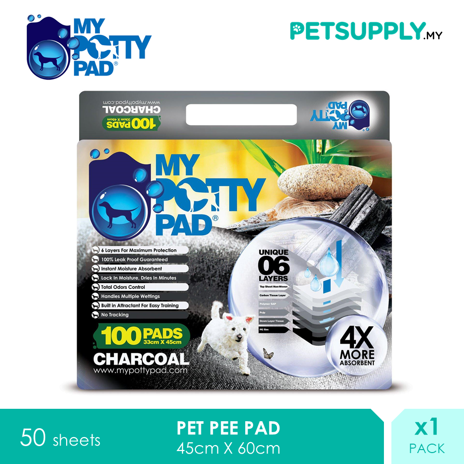 My Potty Pad Dog Training Pee Pad Charcoal [PETSUPPLY.MY]