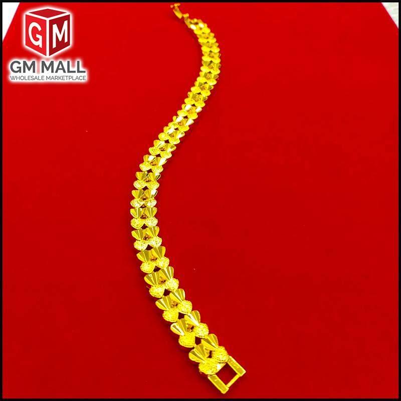 Emas Korea Jewellery - Rantai Tangan Duo Love Line Pasir Kikir Gold Plated (Bracelet EK-2003-6)