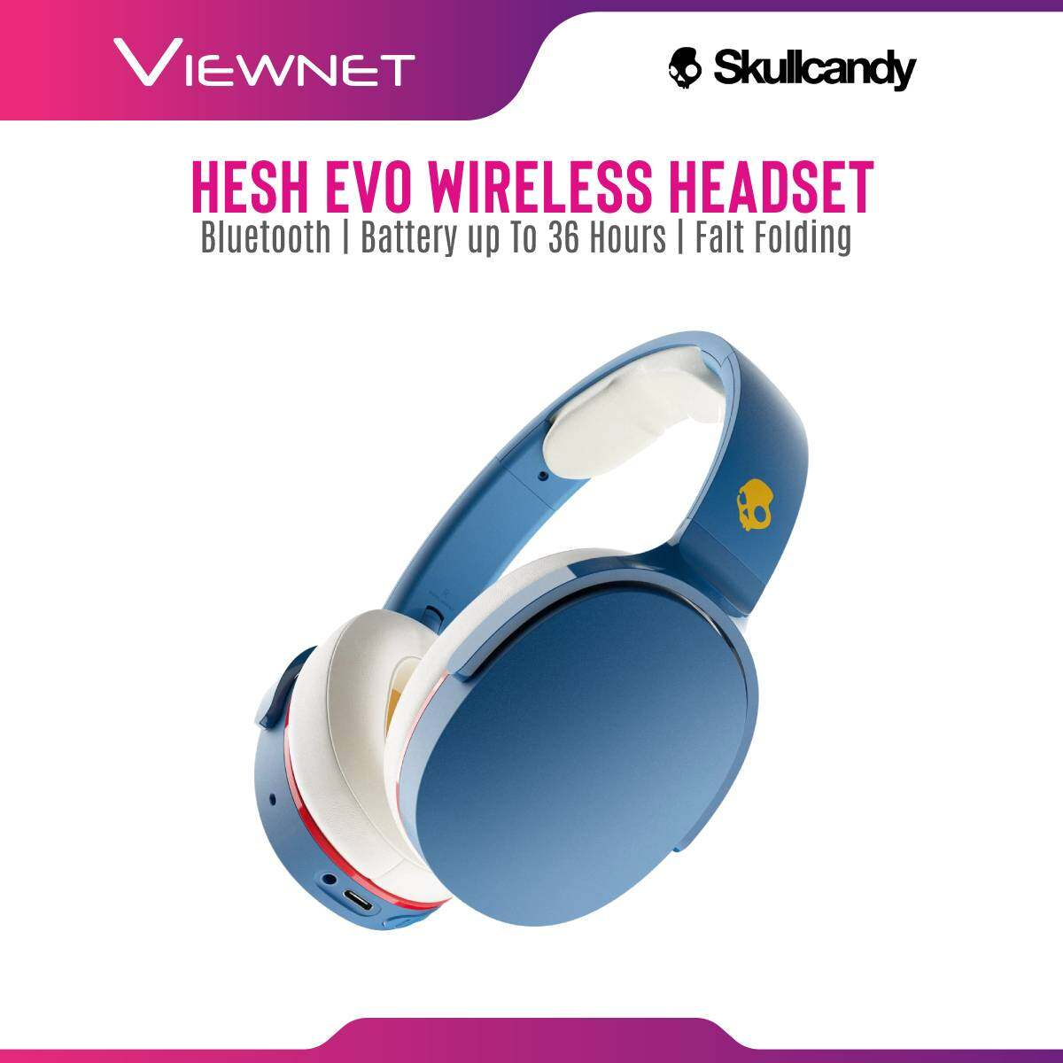 Skullcandy Hesh Evo Wireless Bluetooth  Headphones with Rapid Charge, Up to 36 Hours of Battery